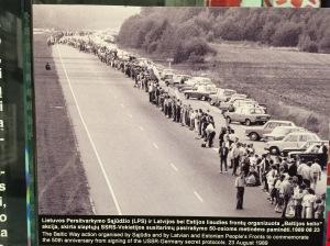 En mänskliga kedja av innevånare i Estland Lettland och Litauen som bildade en 60 mil lång kedja i en fredlig demonstration mot Sovjet 1991